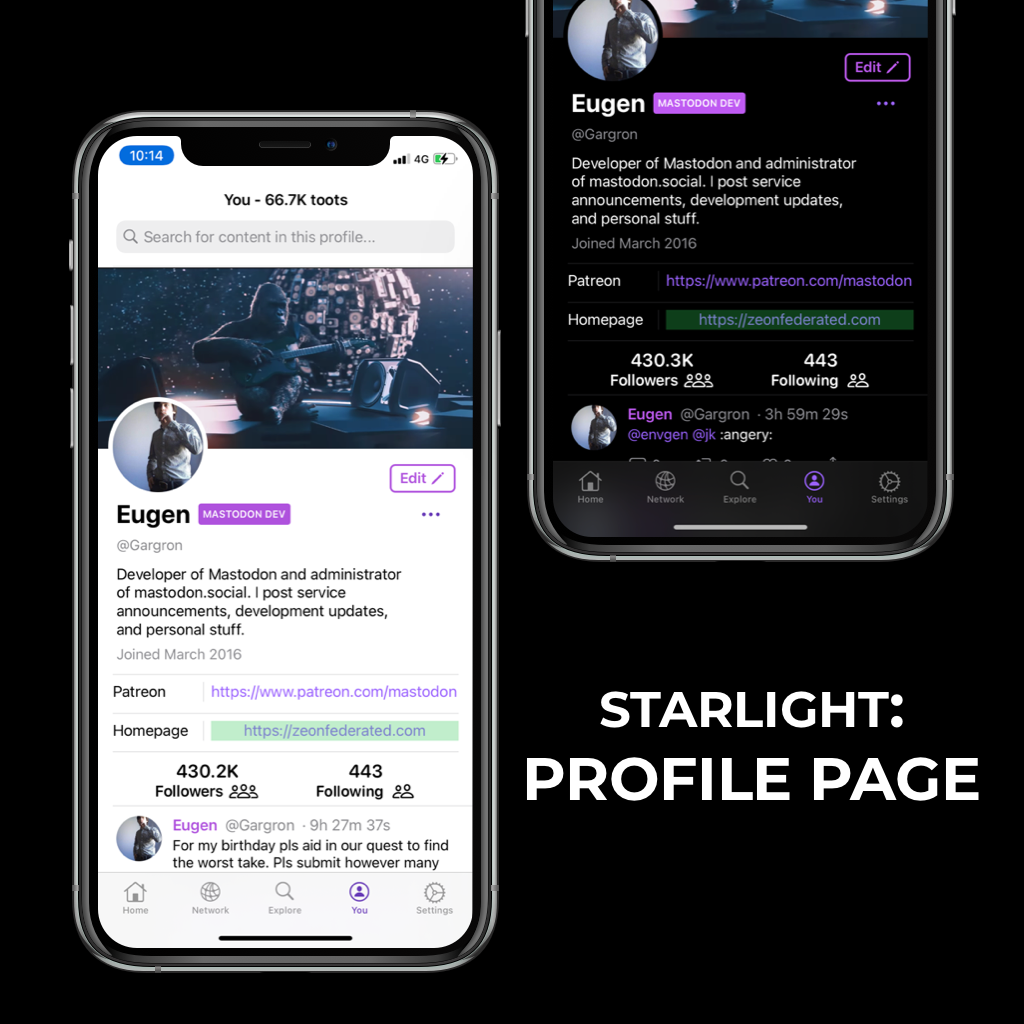 Hyperspace Starlight profile page